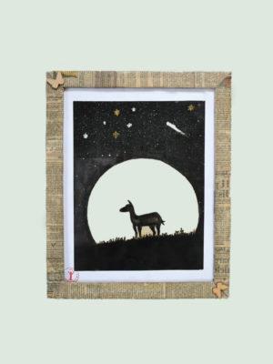 Deer under the Moon- Handmade Painting