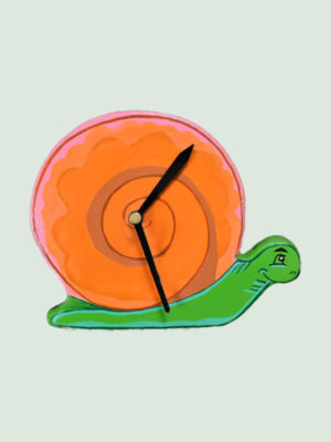 Table Clock- Pink Paper Mache Snail Shaped