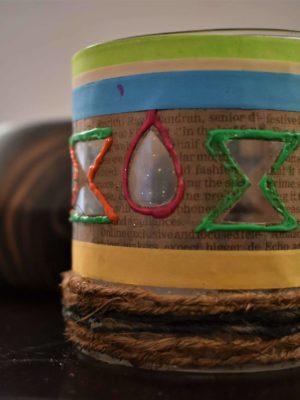 Tribal themed Glass Chimney
