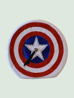 Captain America themed – Paper Mache Table Clock