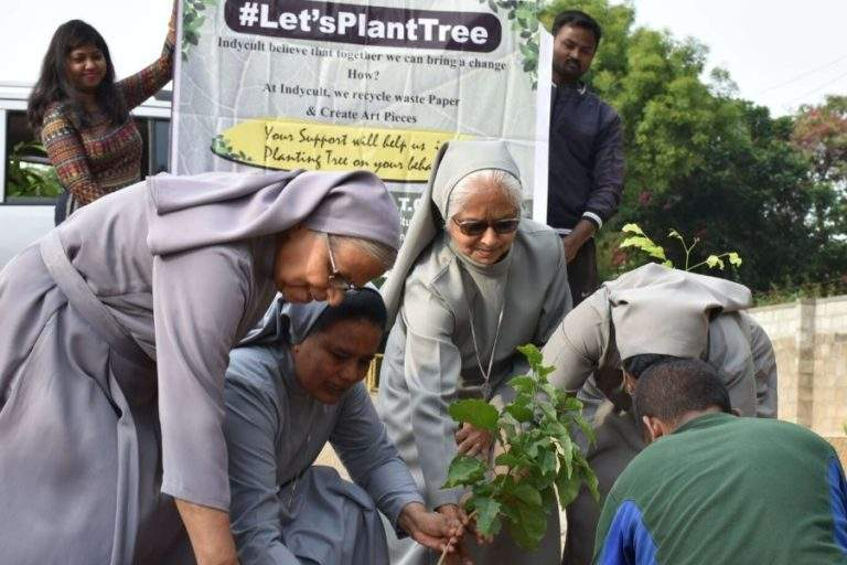 Old Sister are planting Tree