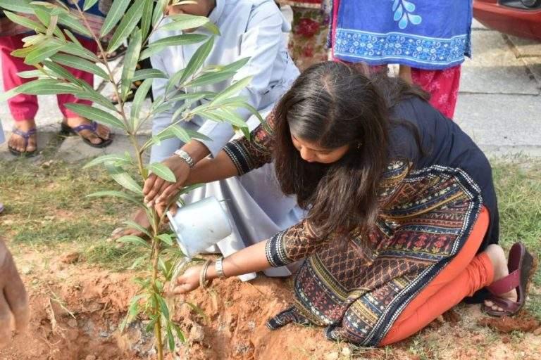 Mrs. Shreya planting tree