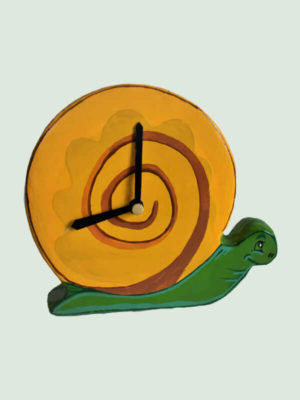 Table Clock- Yellow Paper Mache Snail Shaped