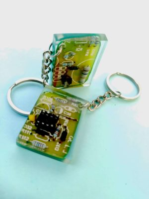 Circuit Board Crystal Clear Chip keyring