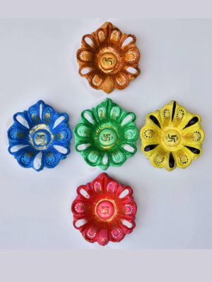 Flower Shaped Decorated Diya for Diwali – Set of 5 Colors with Free Cotton bud
